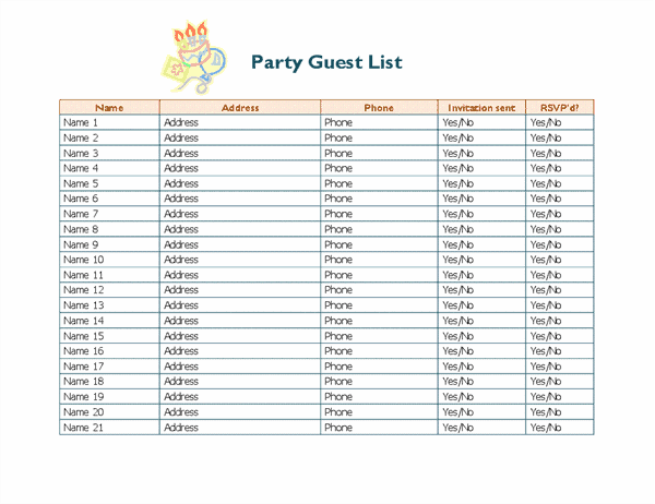 birthday party - Create a guest-list